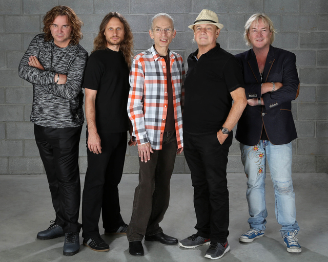 Las Vegas native Billy Sherwood, left, replaced late bassist Chris Squire in Yes. The band includes, from left, singer Jon Davison, guitarist Steve Howe, drummer Alan White and keyboardist Geoff D ...