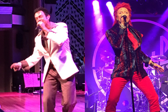 Chris Phillips of Zowie Bowie is shown in character, as Elvis during a performance at Cabaret Jazz on Aug. 16 and as Ziggy Stardust on Aug. 15 at Vinyl at Hard Rock Hotel.  (Las Vegas Review-Journ ...