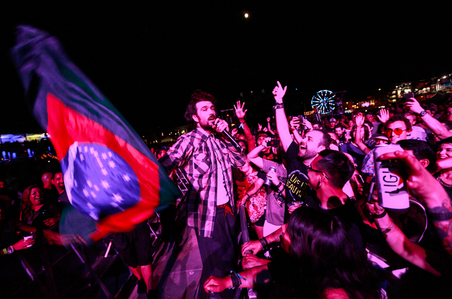 Alex Ebert of Edward Sharpe and the Magnetic Zeros interacts with the crowd while performing during the Life is Beautiful festival in downtown Las Vegas on Friday, Sept. 25, 2015. Chase Stevens/La ...