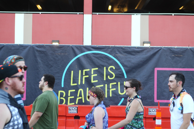 Attendees walk the festival grounds during the Life is Beautiful festival in downtown Las Vegas on Saturday, Sept. 26, 2015. Chase Stevens/Las Vegas Review-Journal Follow @csstevensphoto