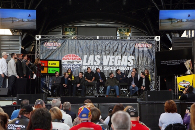 NASCAR drivers and a few lucky fans participate in a game during a NASCAR FanFest event at Fremont Street Experience Wednesday, Dec. 2, 2015, in Las Vegas. (Ronda Churchill/Las Vegas Review-Journal)
