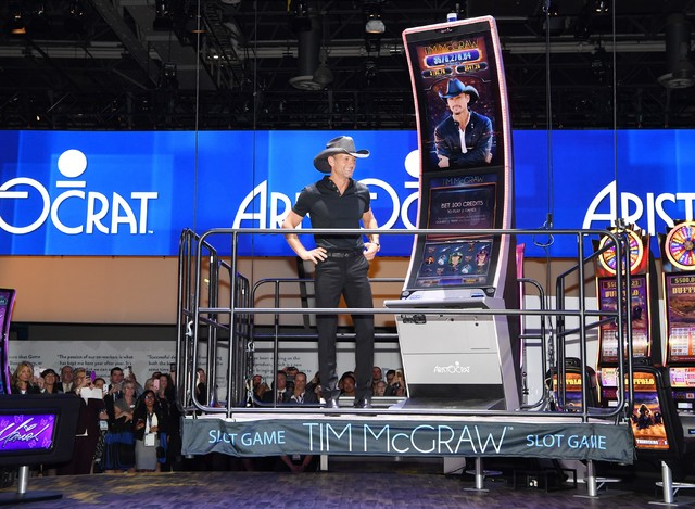 Tim McGraw unveils his slot machine at the 2016 Global Gaming Expo on Tuesday, Sept. 27, 2016, in Las Vegas. (Denise Truscello/WireImage)