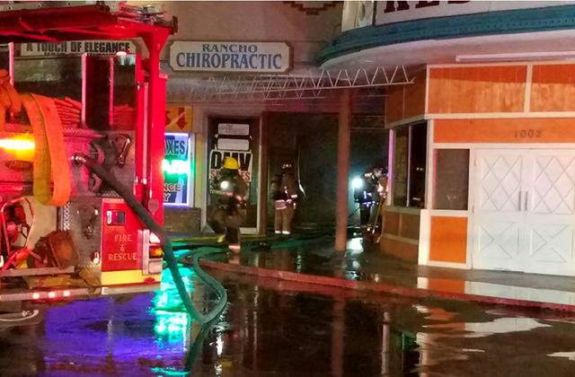 An early morning fire on Friday, Sept. 23, 2016, damaged six businesses at Twin Lakes Plaza, 1000 N. Rancho Drive. (Mike Shoro/Las Vegas Review-Journal)