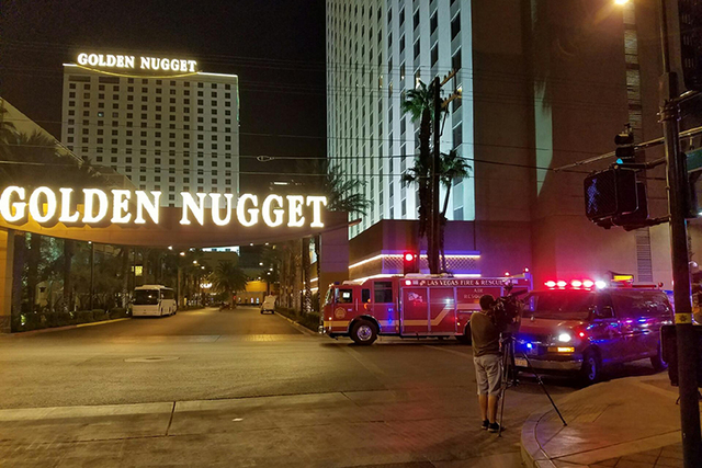 An early Thursday morning fire at the Golden Nugget was put out before Las Vegas Fire and Rescue crews arrived around 1 a.m. (MICHAEL SHORO/Las Vegas Review-Journal)