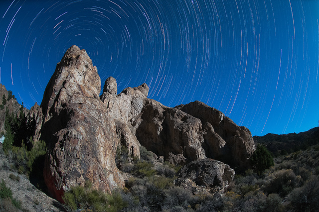 """The night sky spins above Nevada's remote Alta Toquima Wilderness in this time-lapse photo by conservation activist Kurt Kuznicki from the """"Home Means Nevada"""" exhibit now on display at the Senate  ..."""