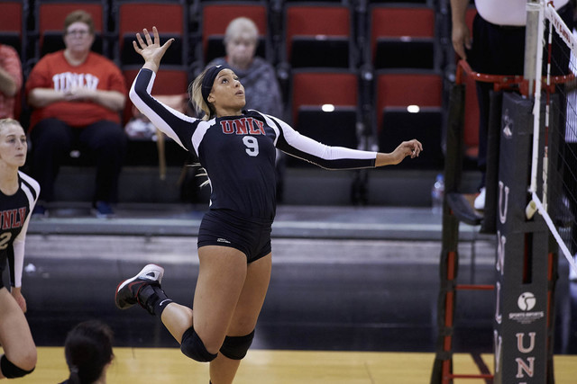 UNLV senior Bree Hammel, shown last season, had 23 kills Thursday in the Rebels' 3-1 victory over Boise State in both teams' Mountain West opener. (Aaron Mayes/UNLV Photo Services)