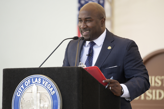 Las Vegas City Councilman Ricki Barlow speaks during the dedication of the rehabilitated historic Westside School Saturday, Aug. 27, 2016. (Sam Morris/Las Vegas News Bureau)