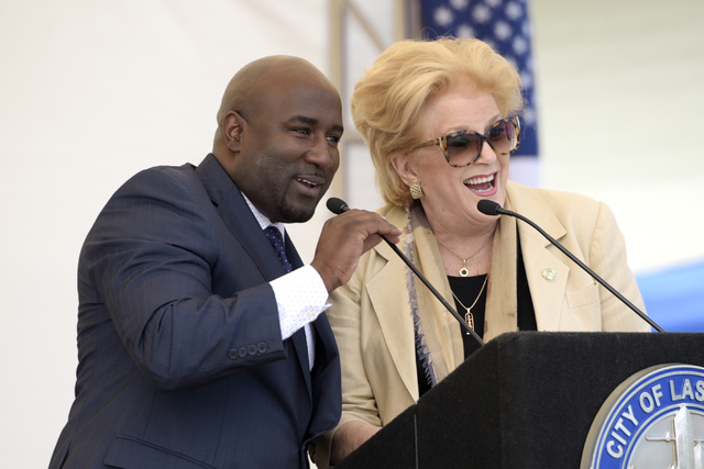 Las Vegas City Councilman Ricki Barlow and Mayor Carolyn Goodman speak during the dedication of the rehabilitated historic Westside School Saturday, Aug. 27, 2016. The school, established as the B ...