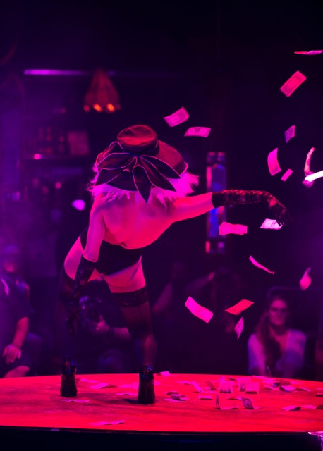 """""""Solo Strips"""" at the """"Absinthe"""" tent outside Caesars Palace early Tuesday, Sept. 27, 2016, in Las Vegas. (Christopher Grabowski)"""