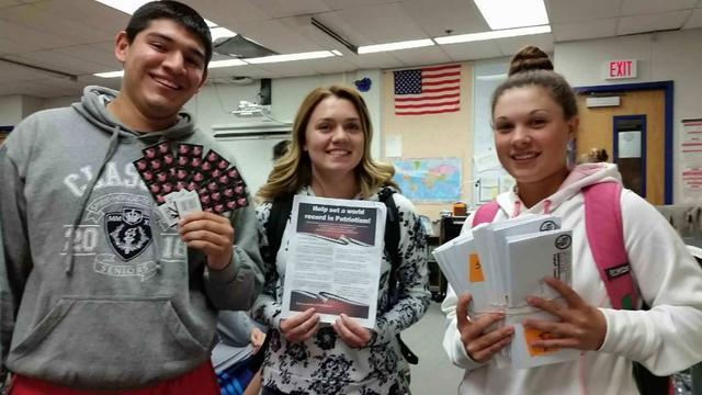 Students from Basic High School collected letters as part of the Daughters of the American Revolution's efforts to break the Guinness World Record for most letters to military personnel collected  ...