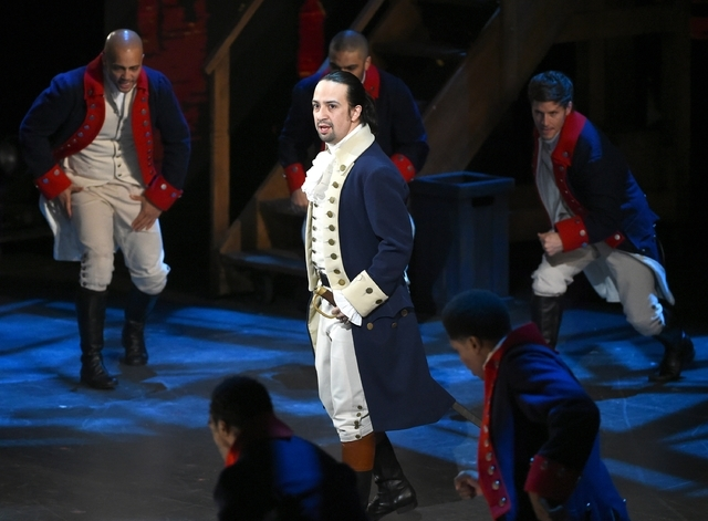 "Lin-Manuel Miranda and the cast of ""Hamilton"" perform at the Tony Awards on June 12, 2016, in New York. (Evan Agostini/Invision/AP)"