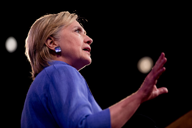 Democratic presidential candidate Hillary Clinton speaks at the American Legion's 98th Annual Convention at the Duke Energy Convention Center in Cincinnati, Ohio, Wednesday, Aug. 31, 2016. (Andrew ...
