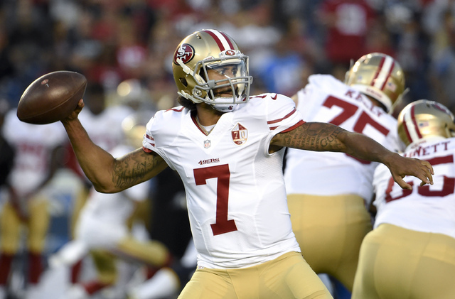 San Francisco 49ers quarterback Colin Kaepernick passes against the San Diego Chargers during the first half of an NFL preseason football game, Thursday, Sept. 1, 2016, in San Diego. (Denis Poroy/AP)