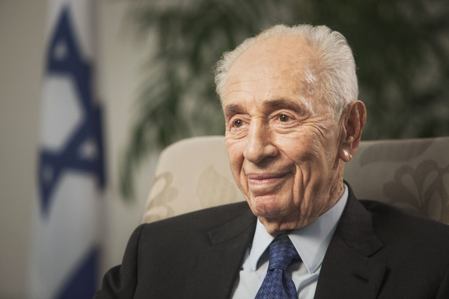 FILE - In this Nov. 2, 2015 file photo, former Israeli President Shimon Peres speaks during an interview with The Associated Press in Jerusalem. Former Israeli President Shimon Peres on Tuesday su ...