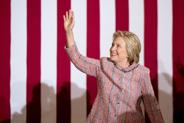 Democratic presidential candidate Hillary Clinton arrives at a rally at University of North Carolina, in Greensboro, N.C., Thursday, Sept. 15, 2016. Clinton returned to the campaign trail after a  ...