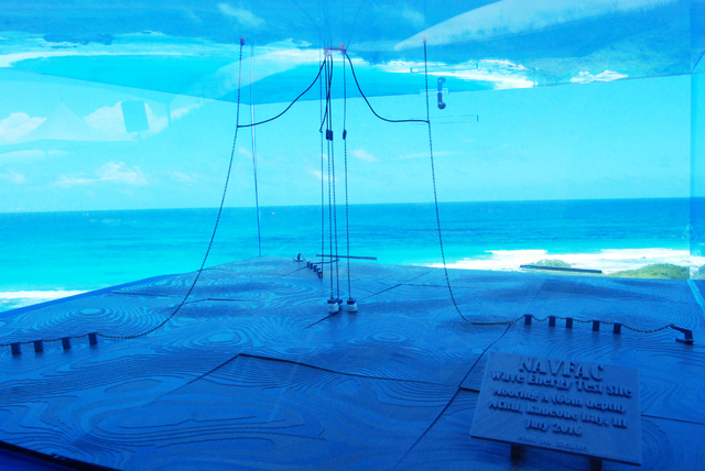 A model of a wave energy test site at Kaneohe Bay on Oahu in Hawaii shows undersea cables that hold machinery in place. By some estimates, the ocean's endless motion packs enough power to meet a q ...