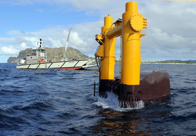 This 2015 photo provided by Northwest Energy Innovations shows the Azura wave energy device, which is converting the movement of waves into electricity at the Navy's Wave Energy Test Site at the M ...