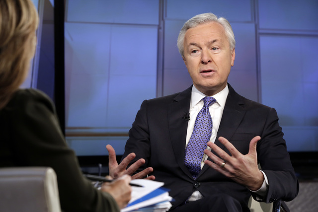 "FILE - In this Monday, Dec. 7, 2015, file photo, Wells Fargo chairman & CEO John Stumpf is interviewed by Maria Bartiromo during her ""Mornings with Maria Bartiromo"" program o ..."