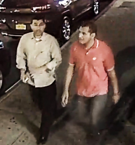 This video frame grab provided by the FBI shows two unidentified men walking in the Chelsea neighborhood of New York on Saturday, Sept. 17, 2016, around the time when a bomb exploded on a nearby s ...
