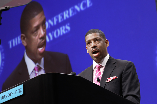 Sacramento, Calif., Mayor Kevin Johnson, president of the U.S. Conference of Mayors, speaks before a panel discussion in Dallas, June 23, 2014. (LM Otero/AP)