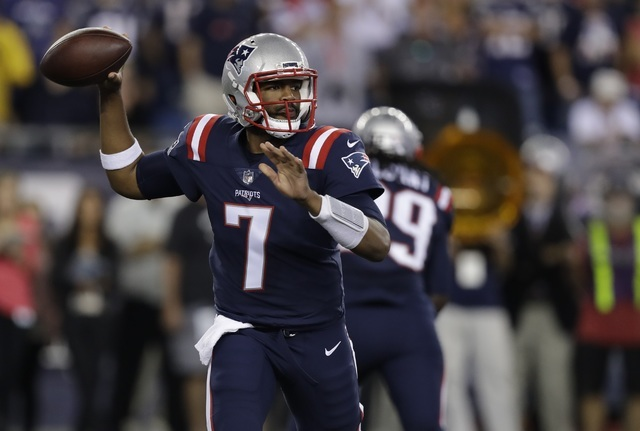 New England Patriots quarterback Jacoby Brissett (7) passes against the Houston Texans during the first half of an NFL football game Thursday, Sept. 22, 2016, in Foxborough, Mass. (AP Photo/Charle ...