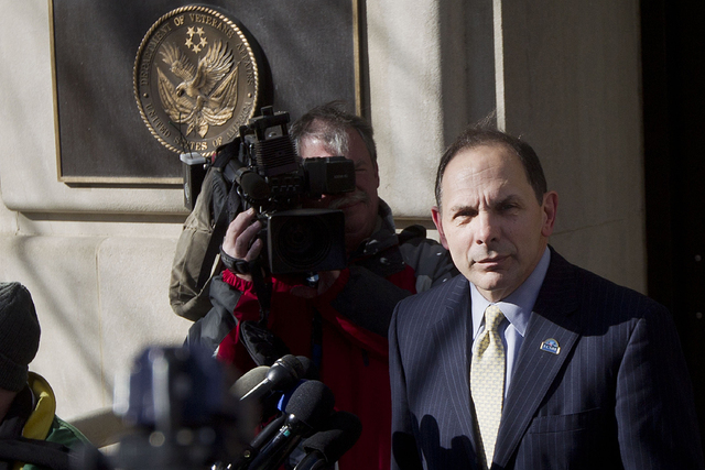 In this Feb. 24, 2015 file photo, Veteran Affairs Secretary Robert McDonald speaks to reporters outside VA Headquarters in Washington. (AP Photo/Pablo Martinez Monsivais, File)
