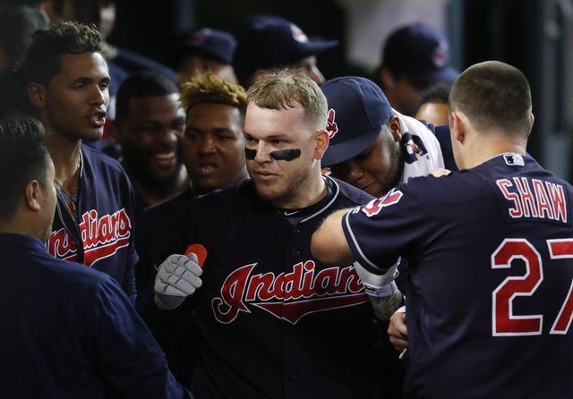 Cleveland Indians' Roberto Perez celebrates his solo home run against the Detroit Tigers during the seventh inning of a baseball game in Detroit, Monday, Sept. 26, 2016. (Paul Sancya/AP)