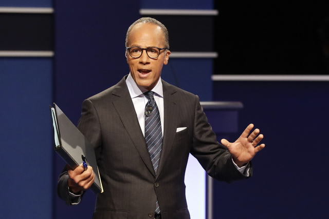 Moderator Lester Holt, anchor of NBC Nightly News, talks with audience before the presidential debate at Hofstra University in Hempstead, New York. (David Goldman/AP)