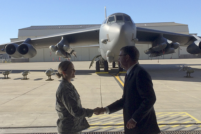 Defense Secretary Ash Carter greets an airman Monday at Minot Air Force Base, North Dakota, after giving a speech on nuclear weapons. Carter says the Pentagon is committed to correcting what he ca ...