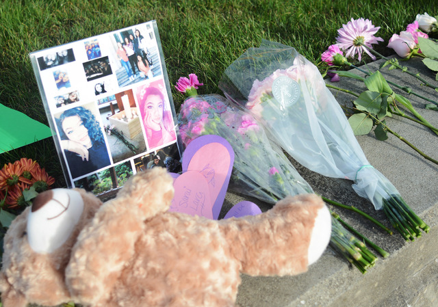 Mount Vernon High School students lined the courtyard with photos, flowers and trinkets of affection for Sarai Lara on Monday, Sept. 26, 2016, after Lara was killed in a shooting at Cascade Mall i ...