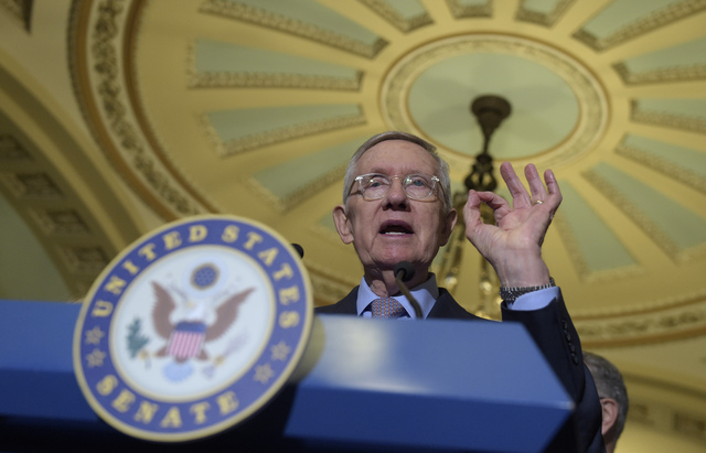 In this Sept. 13, 2016 file photo, Senate Minority Leader Sen. Harry Reid of Nev. speaks to reporters during a news conference on Capitol Hill in Washington. (AP Photo/Susan Walsh, File)
