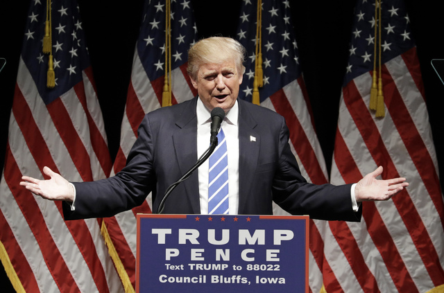 Republican presidential candidate Donald Trump speaks at a rally, Wednesday, Sept. 28, 2016, in Council Bluffs, Iowa. (John Locher/AP)