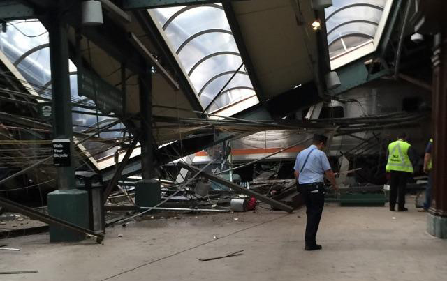 This Thursday, Sept. 29, 2016 photo provided by a passenger who was on the train when it crashed shows wreckage at the Hoboken, N.J. rail station. The commuter train barreled into the station duri ...