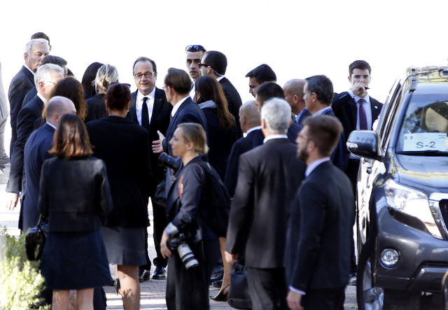 French President Francois Hollande, center, arrives for the funeral of former Israeli President Shimon Peres in Jerusalem, Friday, Sept. 30, 2016. U.S. President Barack Obama, Palestinian Presiden ...