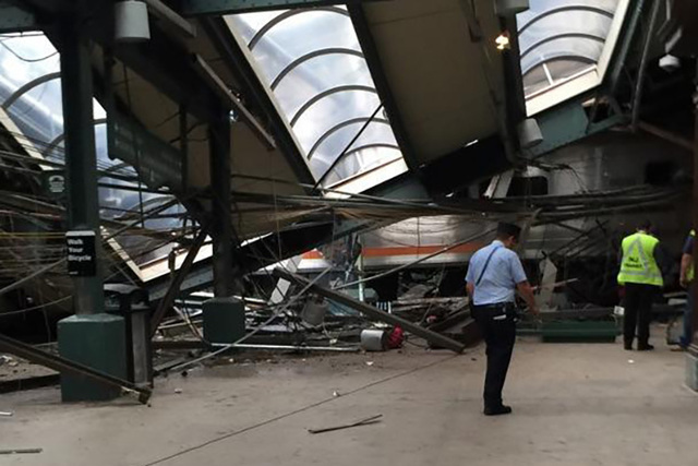 This photo provided by a passenger who was on the train when it crashed, shows wreckage at the Hoboken, New Jersey rail station. (AP Photo)