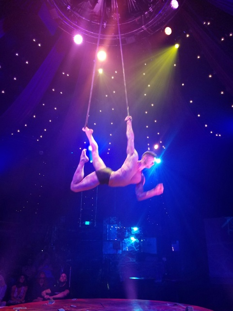 """""""Solo Strips"""" at the """"Absinthe"""" tent outside Caesars Palace early Tuesday, Sept. 27, 2016, in Las Vegas. (TVT)"""