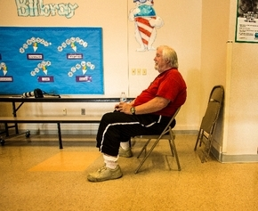 Kyle Canyon resident Doug Martz sits in the American Red Cross Shelter at Bilbray Elementary School, 9730 Brent Lane, in 2013. View file photo
