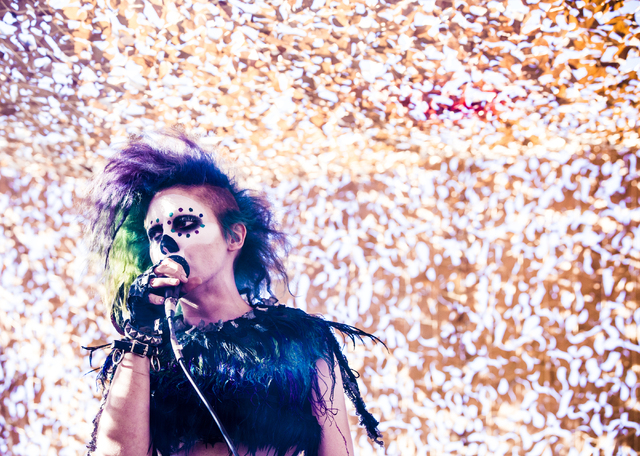 Alison Kelly performs during the seventh annual Wasteland Weekend on Friday, Sept. 23, 2016, in California City, Calif. The four day, post-apocalyptic festival takes place in the Mojave desert and ...