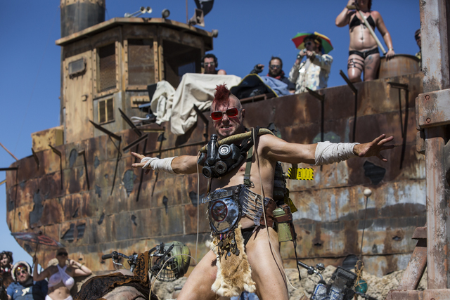 Steve Scholz competes in the post-apocalyptic swimsuit contest during the seventh annual Wasteland Weekend on Saturday, Sept. 24, 2016, in California City, Calif. The four day, post-apocalyptic fe ...