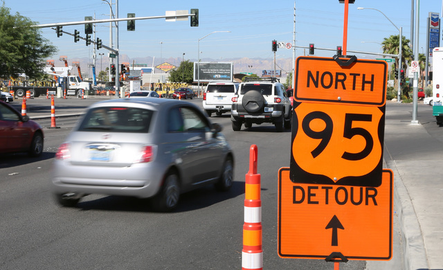 The northbound U.S. Highway 95 detour sign is placed on Bonanza Road, near the Martin Luther King Boulevard on Tuesday, Sept. 6, 2016. The onramp to northbound U.S. Highway 95 will be closed for t ...