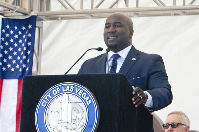 Councilman Ricki Barlow speaks during a grand opening and dedication ceremony at the Historic Westside School in Las Vegas on Saturday Aug. 27, 2016. (Jeferson Applegate/Las Vegas Review-Journal)