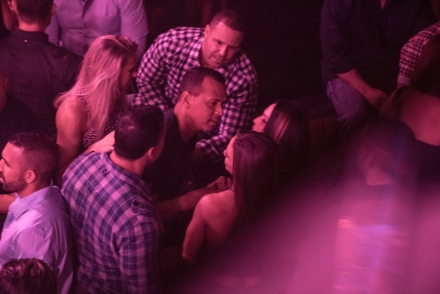 Alex Rodriguez chats it up Friday at Aria club Jewel. (Courtesy)