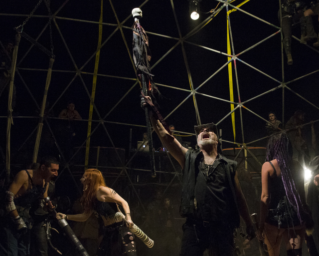 A pre fight ceremony concludes at thunderdome during the seventh annual Wasteland Weekend on Friday, Sept. 23, 2016, in California City, Calif. The four day, post-apocalyptic festival takes place  ...