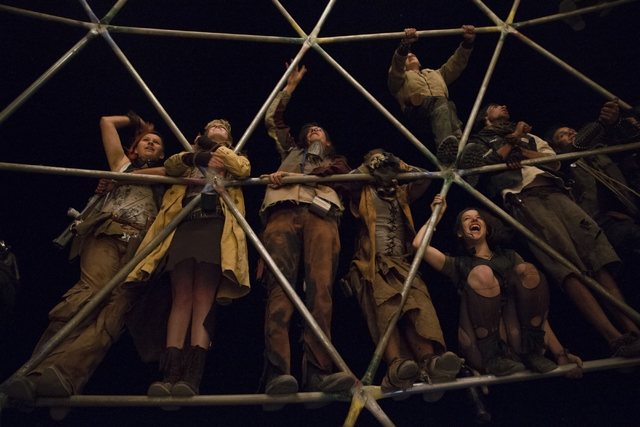 Festival goers cheer from the second level of a replica of the thunderdome during the seventh annual Wasteland Weekend on Friday, Sept. 24, 2016, in California City, Calif. The four day, post-apoc ...