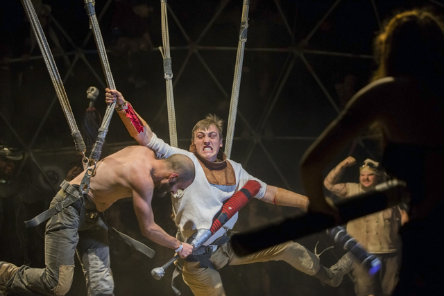 Festival goers battle in a replica of the thunderdome during the seventh annual Wasteland Weekend on Friday, Sept. 23, 2016, in California City, Calif. The four day, post-apocalyptic festival take ...