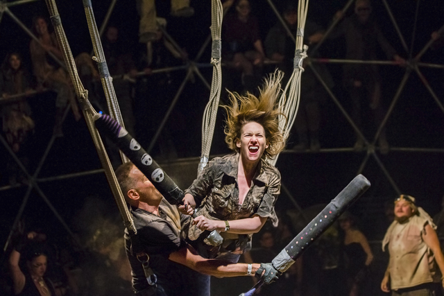 Festival goers battle in a replica of the thunderdome during the seventh annual Wasteland Weekend on Saturday, Sept. 24, 2016, in California City, Calif. The four day, post-apocalyptic festival ta ...
