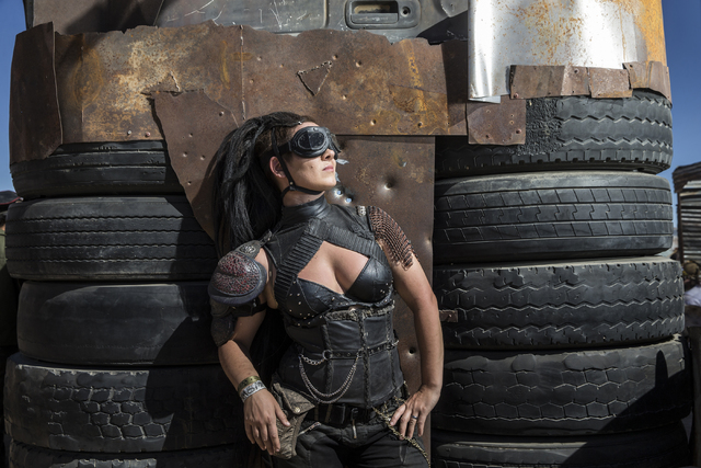 Commander Hard Rain poses for a photo during the seventh annual Wasteland Weekend on Saturday, Sept. 24, 2016, in California City, Calif. The four day, post-apocalyptic festival takes place in the ...