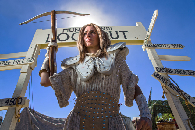 Calixta Cheers poses for a photo during the seventh annual Wasteland Weekend on Saturday, Sept. 24, 2016, in California City, Calif. The four day, post-apocalyptic festival takes place in the Moja ...