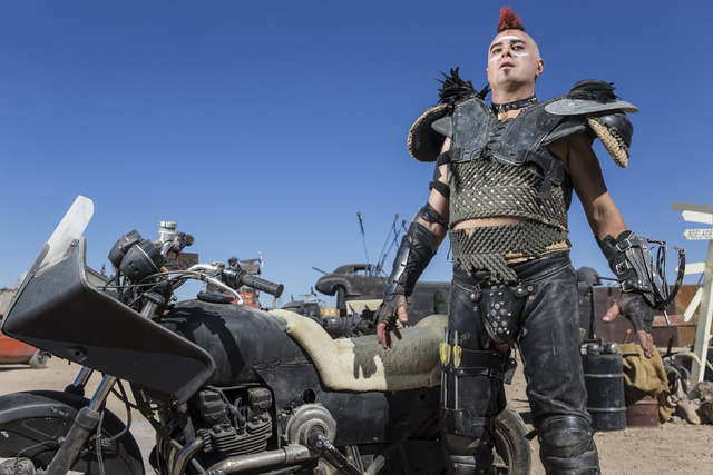 Steve Scholz poses for a photo during the seventh annual Wasteland Weekend on Saturday, Sept. 24, 2016, in California City, Calif. The four day, post-apocalyptic festival takes place in the Mojave ...