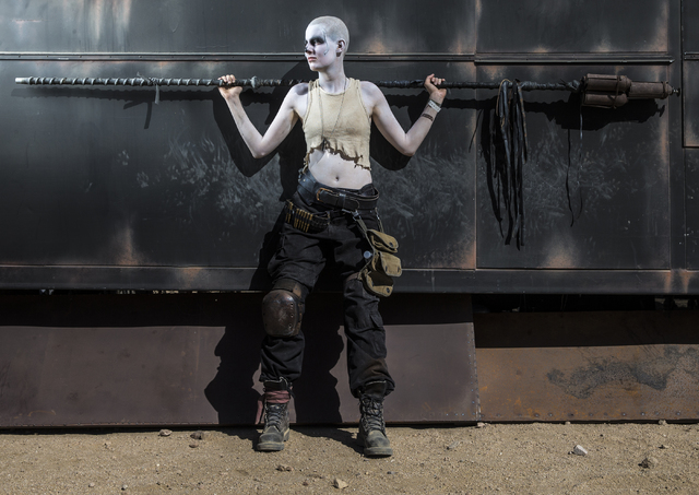 Rivet poses for a photo during the seventh annual Wasteland Weekend on Saturday, Sept. 24, 2016, in California City, Calif. The four day, post-apocalyptic festival takes place in the Mojave desert ...